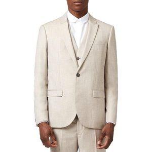 Topman Skinny Fit Crosshatch Suit Jacket Size 42R